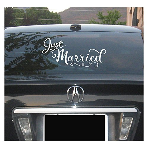 (Just Married 10x22 vinyl lettering wall decal sticker art home decor)