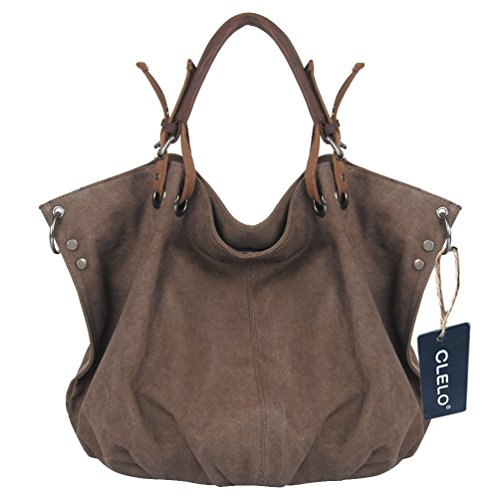 CLELO B406 Oversized Vintage Hobo Canvas Genuine Leather Tote Handbag Shoulder Bag, Coffee by Clelo