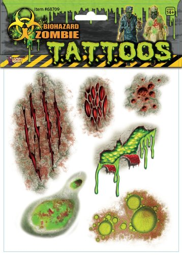 Biohazard Zombie Tattoos Adult Accessory