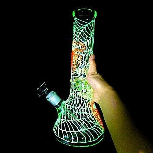 Unique Purple Design Waterpipe Handmade Unique Luminous Design Dual Water Percolator Glass Big Water Chamber Red Light Tall Glass-Tube Adam 10 Inch Purple Tall Newest Portable-Pipe