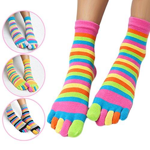 Five Toe Socks Women Cotton Socks with Toes Toe Separator Rainbow Socks Pack Of 4