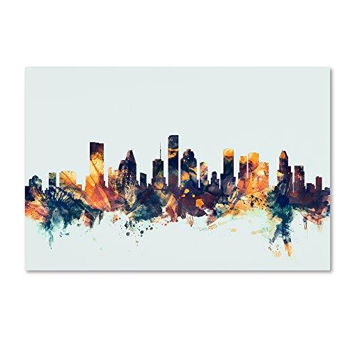 Houston Texas Skyline Blue by Michael Tompsett, 30x47-Inch Canvas Wall Art