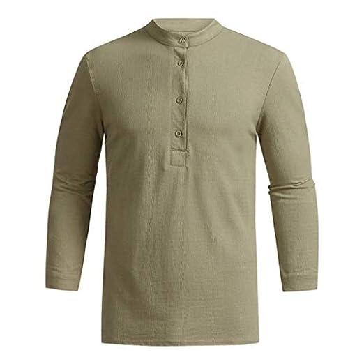 16daa4e3 Fashion Men's Autumn Long Sleeve V-Neck Button Casual Simple Tops Blouse