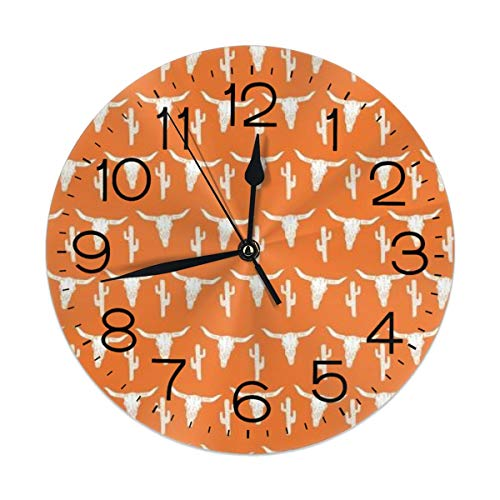 FEAIYEA Wall Clock Longhorn Cattle Cow Texas Skull Orange Cactus Decorative Wall Clock Silent Non Ticking - 9.8Inch Round Easy to Read Decorative for Home/Office/School Clock ()