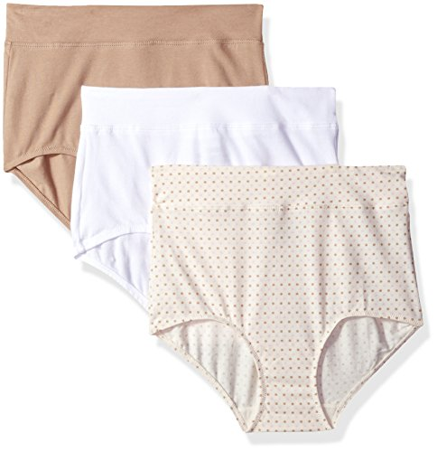 Warner's Women's Blissful Benefits No Muffin Top 3 Pack Brief Panty, White/Toasted Almond/Body Tone Polka Dot Print, XL ()