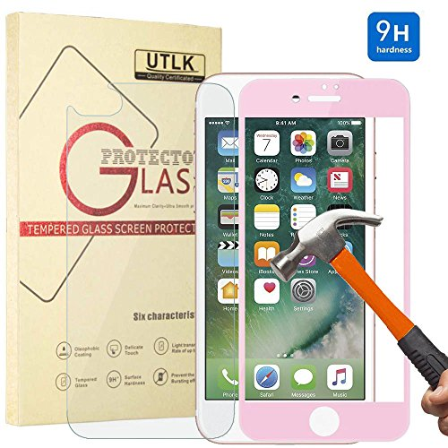 (iPhone 8 plus 7 Plus Screen Protector,[Pink] UTLK 3D Fully Cover Colored Front Back Glass 9H Hardness Premium Tempered Glass Screen Protector For iPhone 8 plus iPhone 7 Plus 5.5 inch Anti-Scratch)