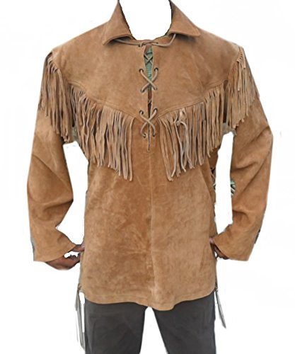 Classyak Western Leather Coat Lace up with Fringes in Fro...