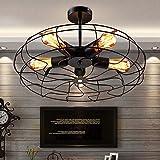 BIGBANBAN Industrial Vintage Semi Flush Mounted Ceiling Light Fan Style Chandelier Barn Metal Hanging Fixture Pendant Light