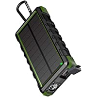 EasyAcc 24000mAh Solar Rugged Waterproof Portable Power Bank with 6A Dual Input and QC Output