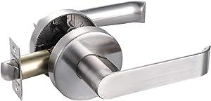 Closet Lever Handle Lock Satin Nickel Finish,Heavy Duty Door Lock Handle in Silver for Passage Door and Mobile Home,HTL02-SN-PS-1