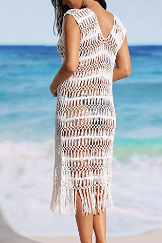 YACUN Damen Badeanzug Vertuschung Strand Bikini Häkeln Kleid White ...