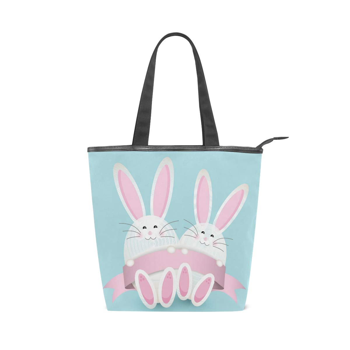Womens Canvas Tote Bags Easter Eggs Rabbit Pink Vintage Print Top Handbags Casual Shoulder Travel Bag with Zipper