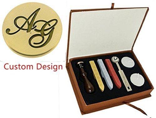 mdlg Vintage Custom Custom Custom Made Dos Letras imagen Logo de invitación para boda personalizada con sello de cera de sellado sello de cuchara de juego de caja de regalo 7e44a9
