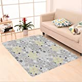 Nalahome Custom carpet ey and Yellow Indian Bohem Style Paisley Print Flowers Dots Art Image Light Grey Black and White area rugs for Living Dining Room Bedroom Hallway Office Carpet (6' X 9')