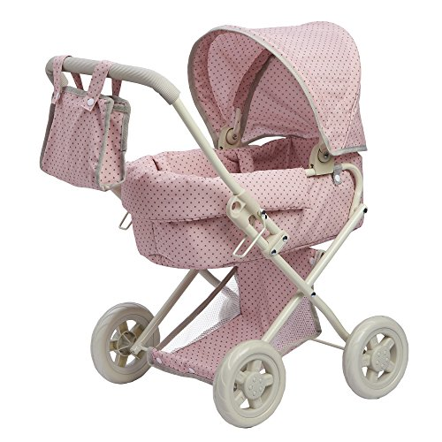 "d Deluxe Doll Pram | 16"" Baby Doll Stroller with Carriage Bag, Pink/Grey ()"