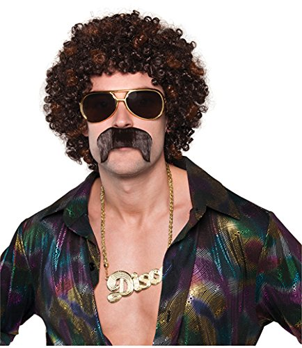 AMSCAN 70s Disco Dirt Bag Wig and Moustache, One Size -