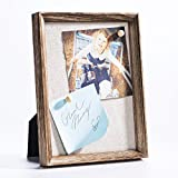 Love-KANKEI Pin-it Wood Frame, 5 by 7 Inch Wall Hanging or Desk Photo Display Stand Picture Frame, Torched Wood Finish