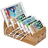Bamboo Charging Stations for Multiple Devices, Desk Wood Docking station Organizer for Electronic Device Charge Stand for iPhone, Tablets, Laptop, iPad, Phones, etc. (Hub and Cable Not Included)
