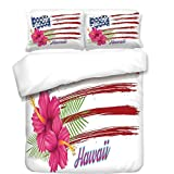 iPrint Duvet Cover Set,Hawaiian,American Flag Theme Stars and Stripes Hibiscus Leaves Hawaii USA Patriotic Art,Fuchsia Navy,Best Bedding Gifts for Family Or Friends