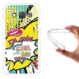 Funda Samsung Galaxy A3 2015, WoowCase [ Samsung Galaxy A3 2015 ] Funda Silicona Gel Flexible Labios Comic Frase - I'm Just A Good Girl With Bad Habits, Carcasa Case TPU Silicona - Transparente