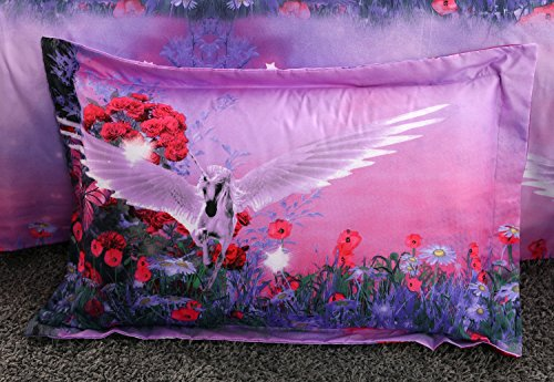Alicemall 3D Unicorn Bedding Purple Bedding Set Dreamlike Flying Horse with Wings Purple Polyester 3D College Bedding Set, 4 Pieces, Duvet Cover, Bed Sheet and 2 Pillow Cases (Twin XL) by Alicemall (Image #3)