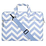 MOSISO Laptop Shoulder Bag Compatible 15-15.6 Inch 2017/2016 MacBook Pro with Touch Bar A1707, MacBook Pro, Compatible with 14 Inch Ultrabook, Chevron Briefcase Handbag Sleeve Case, Serenity Blue