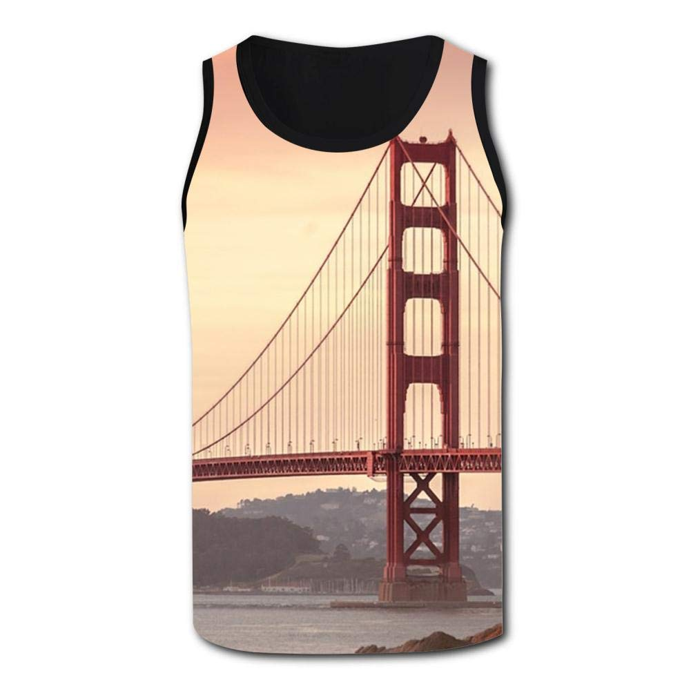 Mens Outdoor Sport Golden Gate Bridge San Francisco Tank Top Vest T-Shirt Fast Drying Tee