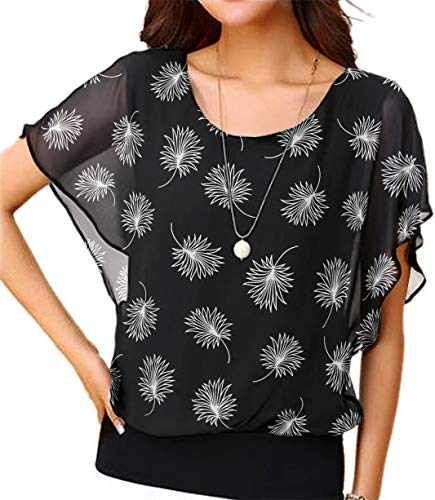 Viishow Women's Loose Casual Leaf Printed Short Sleeve Chiffon Top T-Shirt Blouse Leaf Black 3XL ()
