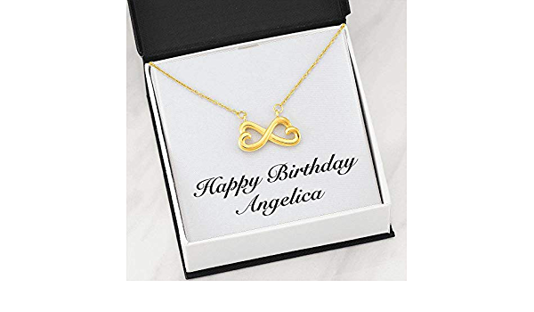 Infinity Heart Necklace 18k Yellow Gold Finish Personalized Name Unique Gifts Store Happy Birthday Veronica