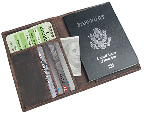 Passport Holder Leather - Polare Men's Slim RFID Blocking Leather Passport Holder Travel Bifold Wallet (Brown)