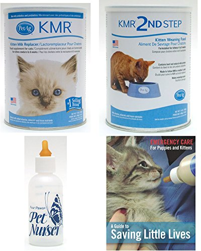 KMR Kitten Milk Replacer Powder for Kittens & Cats 12oz Bundle with Four Paws Kitten Nursing Bottle 2oz with PetAg KMR 2nd Step Kitten Weaning Food Powder 14oz with Saving Little Lives brochure Commercial Brochure