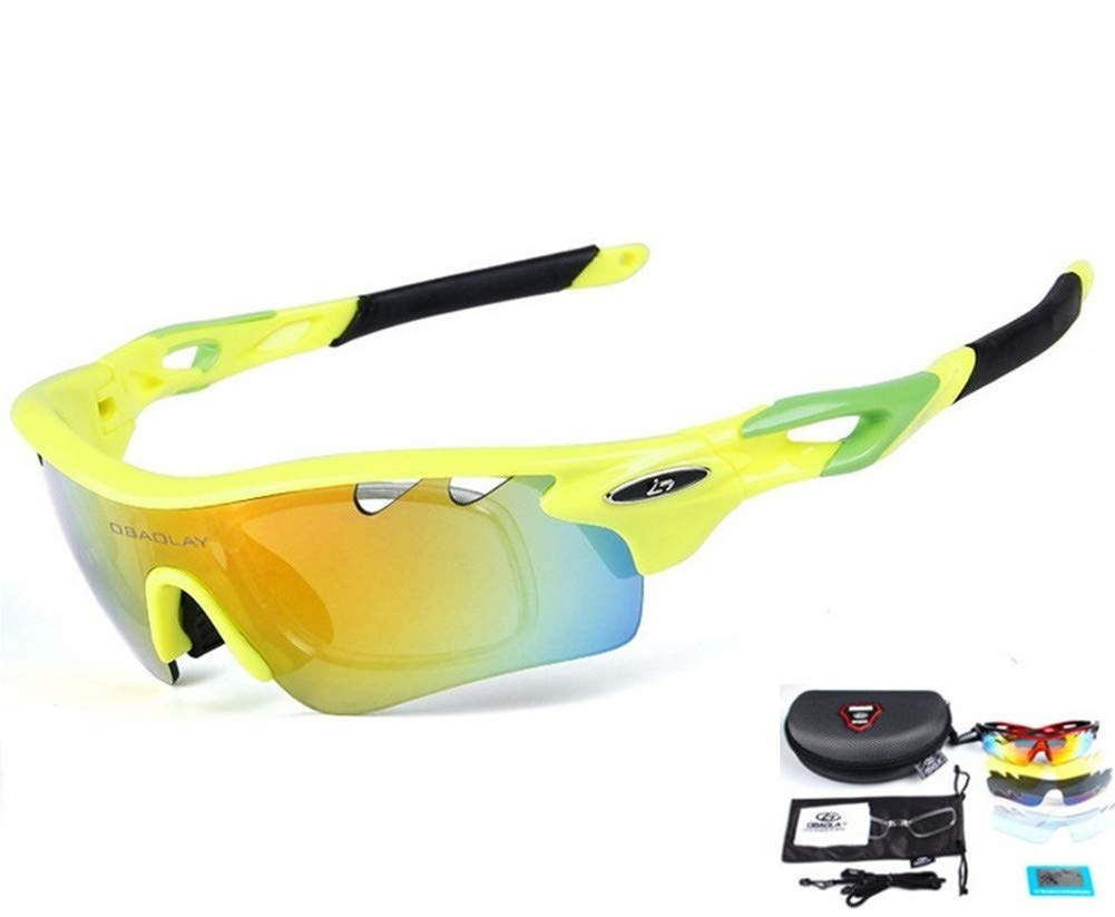 Baselay Polarized Sports Sunglasses with 5 Interchangeable Lenes UV400 Sun Glasses for Men Women Youth Cycling Running Driving Fishing Golf Baseball TAC Goggles (Yellow/Green)