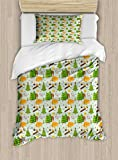Lunarable Camping Twin Size Duvet Cover Set, Summer Season Camping in Woods with Bear Toad Squirrel Owl Outdoor Nature Cartoon, Decorative 2 Piece Bedding Set with 1 Pillow Sham, Multicolor