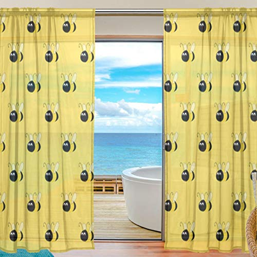 - Bumblebee Yellow Sheer Curtains 78 Inch Length Window Treatment Set 2 Panels