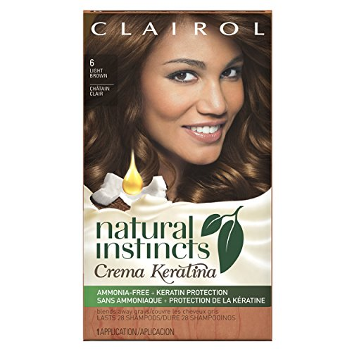 (Clairol Natural Instincts Crema Keratina Hair Color Kit, Light Brown 6 Cappuccino)