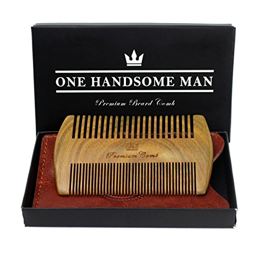 The Ultimate Beard Comb - Quality Sandalwood Comb with Gift Box and Luxurious PU Leather Travel Case - Gifts for Men (Fathers Days Gift)
