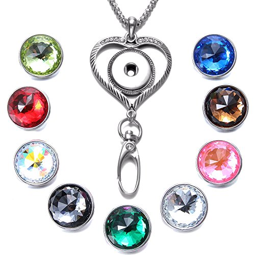 Soleebee 34.3 inches Office Lanyard Snap Button Jewelry ID Badge Holder Necklace Bonus 9pcs Facets Crystal Glass Snap Buttons (Love Heart) -