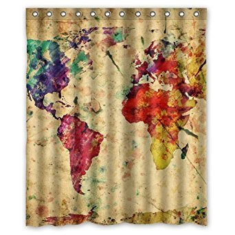 BOSKGML Custom Vintage Colorful World Map WaterProof Polyester Fabric Shower Curtain in Size 60