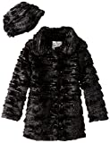 Widgeon Big Girls' Sequin Sparkle Coat with Hat, Sequin Black, 10