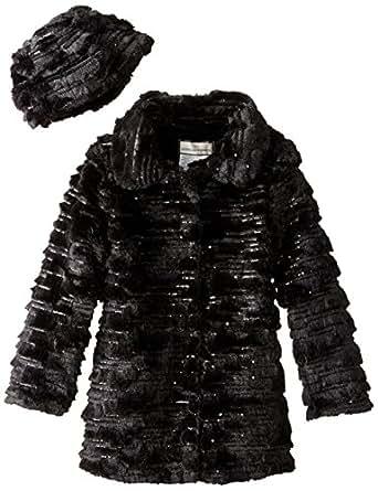 Widgeon Big Girls' Sequin Sparkle Coat with Hat, Sequin Black, 7