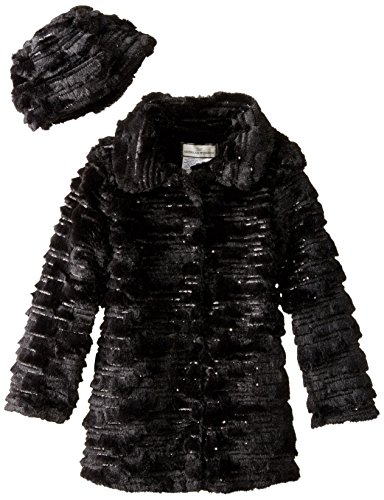 Widgeon Big Girls' Sequin Sparkle Coat with Hat, Sequin Black, 10 by Widgeon