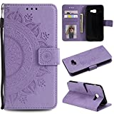 Galaxy A3 2017 Floral Protective Wallet Case,Galaxy A3 2017 Strap Flip Case,Leecase Pretty Elegant Embossed Totem Flower Design Pu Leather Bookstyle Magnetic Card Slots Wrist Strap Rose Gold Soft Inner Stand Flip Skin Case Cover Book Style With Lanyard Strap for Samsung Galaxy A3 2017 + 1 x Free Black Stylus-Purple