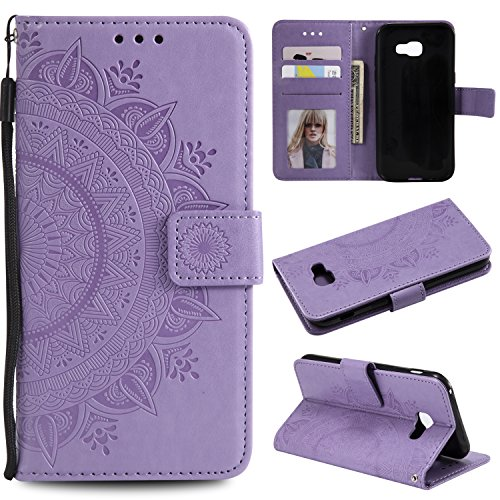 Galaxy A5 2017 Floral Wallet Case,Galaxy A5 2017 Strap Flip Case,Leecase Embossed Totem Flower Design Pu Leather Bookstyle Stand Flip Case for Samsung Galaxy A5 2017-Purple by Leecase