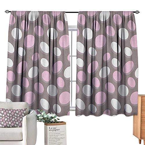 GeometricSolid Rod Pocket short Blackout DrapesRetro Oval Pattern Circles Abstract Pale Vintage Elliptical DesignBedroom Curtains Blackout Curtain Insulating Energy Saving Solid Rod Pocket Blackout