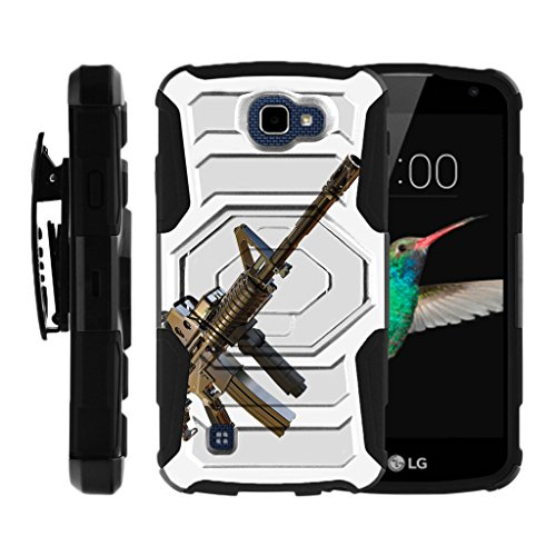 MINITURTLE Case Compatible w/ LG K4 Case, Optimus Zone 3, Spree, LG Rebel, [Armor Reloaded] Rugged Belt Clip + Holster Stand Guns and Ammo Assault Gun (Body Assault Full)