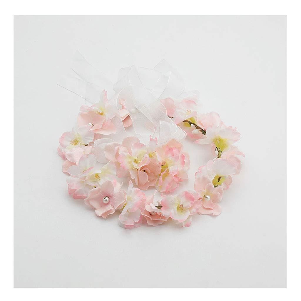 Wreath Flower Girl Hair Accessories Wrist Flower Set Sweet Holiday Wind Head Hair Styling Jewelry (Size : 22cm) by Wreath