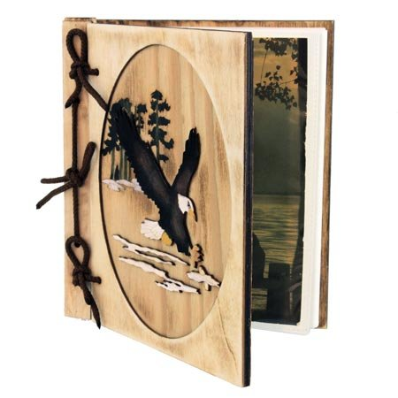 Rustic Wooden Eagle Scene 36 Picture Photo Album, 5x7, 8-inch