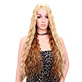 Fani Long Curly Wig Heat Resistant Lace Front Synthetic Hair Wigs With Free Wig Cap 2 Tones Ombre Hand Tied Orange(Yellow)Costume Wigs