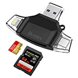 SD Card Reader,BOMAX TF Card Reader & USB C Card Reader Memory Card Camera Reader Adapter for iPhone iPad Galaxy S8 Android Mac,with Lightning Micro USB 3.0 Connector-Black
