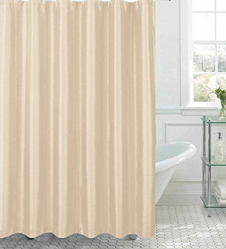 Creative Home Ideas Jane Faux Silk Shower Curtain with 12 Metal Rings, Beige